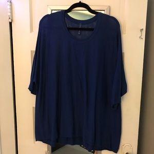 Women's Plus 1X/2X Royal Blue Fine Knit Dolman Tee